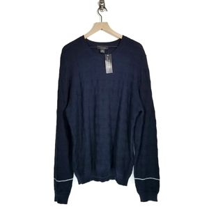 Bloomingdale's Navy Cotton Chunky Knit Sweater